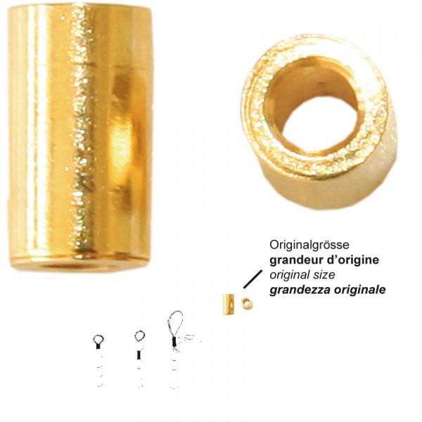 Quetschhülsen Silber 925 vergoldet 2,2mm Ø aussen 2,3 mm, innen 1,5 mm