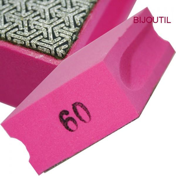 Pad diamantiert , K60, rosa, grob 9.5 x 5.5 x 3.0cm