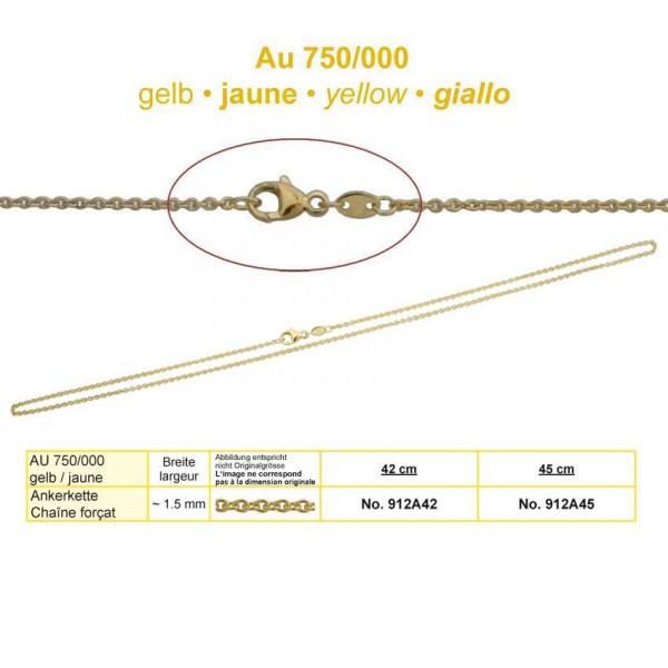 Goldkette, Anker, Au 750, 45cm Breite ~1.5mm inkl. Karabiner
