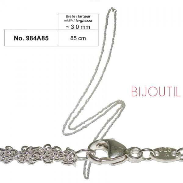 Silberkette, Anker, Ag 925, 85cm geflochten, Breite ~3.0mm inkl.Karabiner