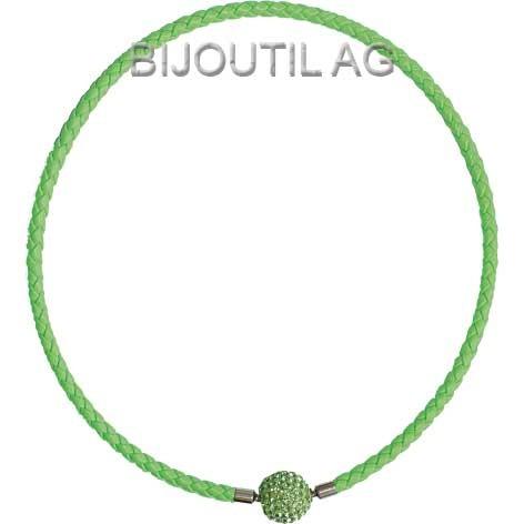 LIQ Collier 5mm, neon, h.grün, 44cm echt Leder geflochten, Wechselschliesse