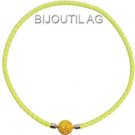 LIQ Collier 5mm, neon, gelb, 44cm echt Leder geflochten, Wechselschliesse