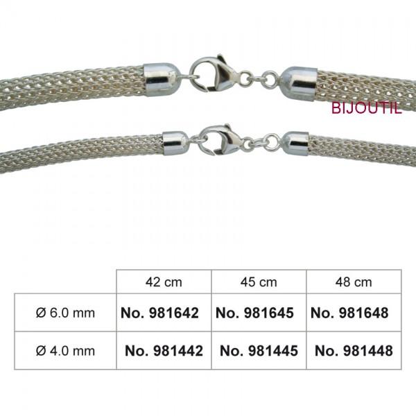 Foxschlauch-Collier Silber 935/-, Ø 4 mm finiert mit Endkappen + Karabiner, 48 cm