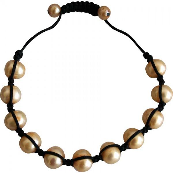 LIQ. Bracelet, geknüpf m. Perlen, gold Süsswasserperlen
