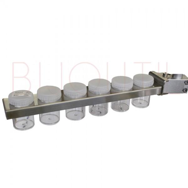 Porte récipient pour pied 13400 +13400L,L 30cm, 6 récipients ∅ 3.5 x 6cm