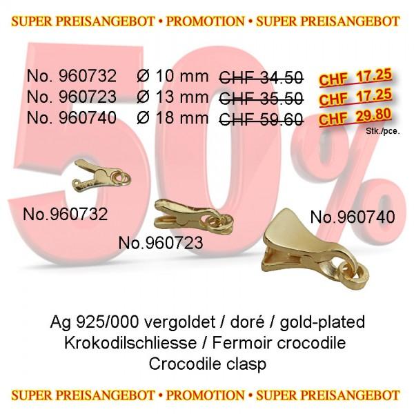 LIQ. Krokodilschliesse 13mm, Silber verg Solange Vorrat