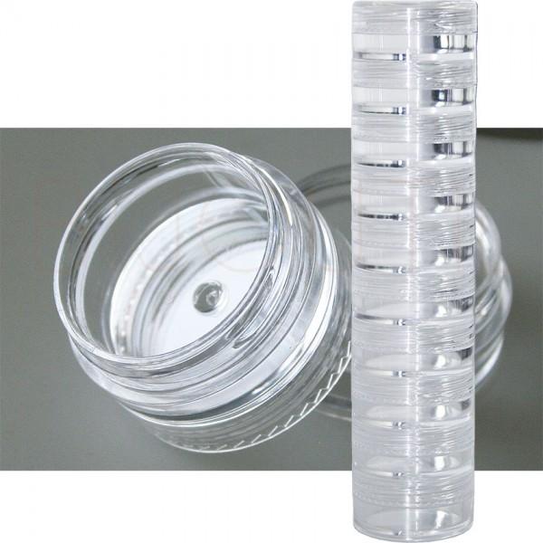 Runddosen Set, 10 Stk. schraubbar transparent, Innen Ø 24 x 10mm