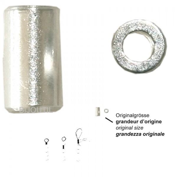 Quetschhülsen Silber 925, Länge ca.2,2mm Ø aussen 2,0 mm, innen 1,2 mm