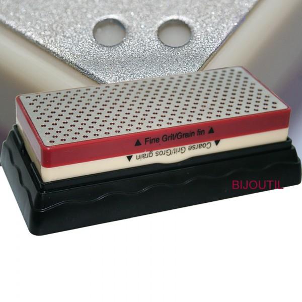 Abziehstein diamantiert, 150 x 62mm auf Sockel, Körnung 400 + 800