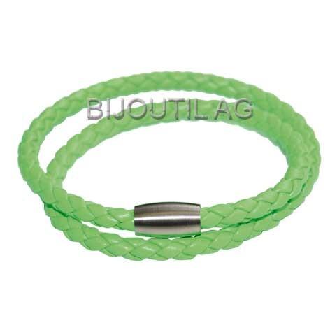 LIQ Armband 3mm, neon, h.grün, 38cm echt Leder geflochten, Magnetschliesse