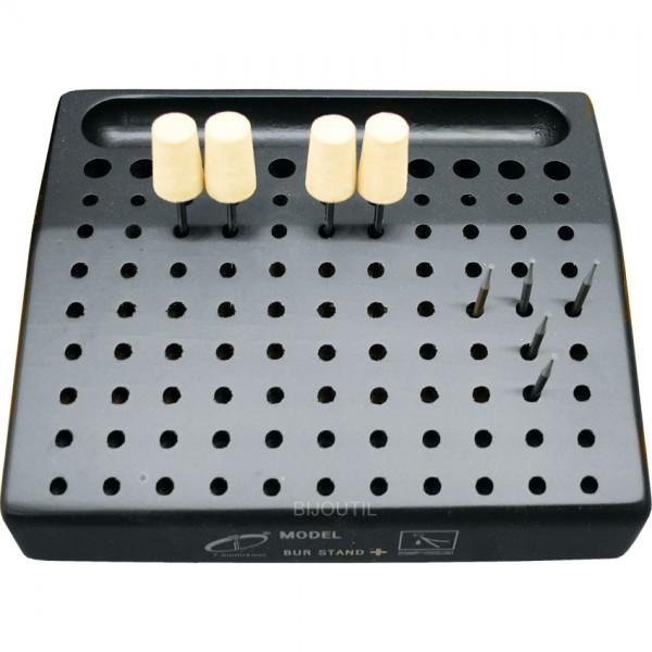 Fräserständer , Holz schwarz 16 x 13cm, für 88 Fräser, 1 Magnet