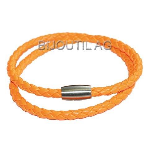 LIQ Armband 3mm, neon, orange, 38cm echt Leder geflochten, Magnetschliesse