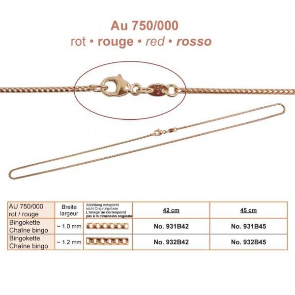 Goldkette, Bingo, RG Au 750, 45cm Breite ~1.2mm inkl. Karabiner