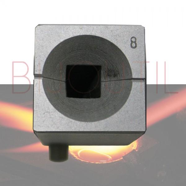 Lingotière, carré, Ø 8 mm sans pince à vis