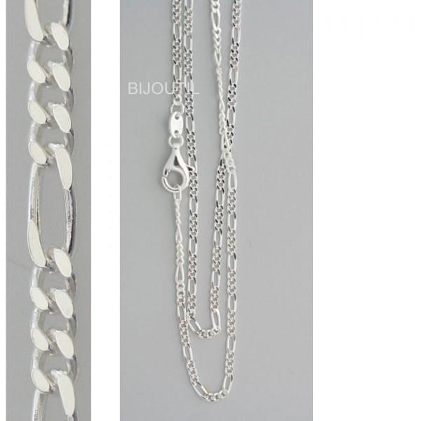 Silberkette, Figaro, Ag 925, 45cm Breite ~1.4mm inkl. Karabiner