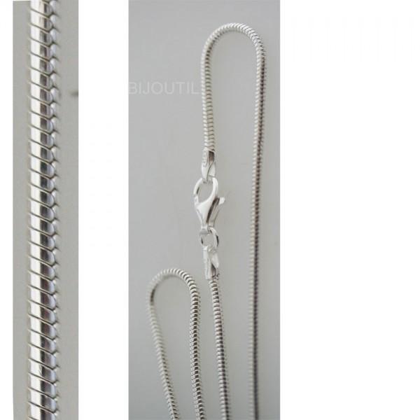 Silberkette, Schlange, Ag 925, 50cm Breite ~1.6mm inkl. Karabiner
