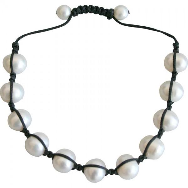 LIQ. Bracelet, geknüpf m. Perlen, weiss Süsswasserperlen