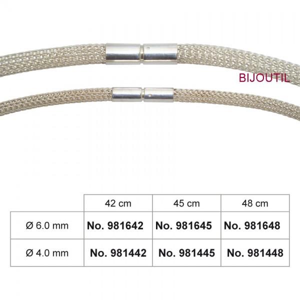 Foxschlauch-Collier Silber 935/-, Ø 6 mm finiert mit Bajonette, 42 cm